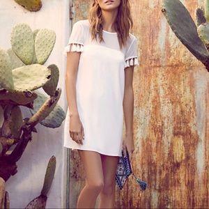 NWOT White Lulus Tassel Dress - Small